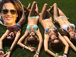 'Soaking up the sun!' Alessandra Ambrosio flexes that perfect body in a paisley blue bikini on the lawn with her bathing beauty pals