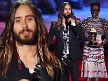 Jared Leto flirts with Lupita Nyong'o as she presents him with MTV Movie Award for his portrayal of transvestite... following rumours that the two are dating