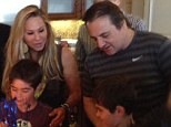 A family affair! Adrienne Maloof proudly stood behind her young twin boys as they celebrated their eighth birthday
