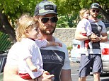 Chris Hemsworth and daughter India in Malibu on Friday