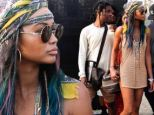 Chanel Iman is ringless in crocheted minidress at Coachella with new fiance A$AP Rocky