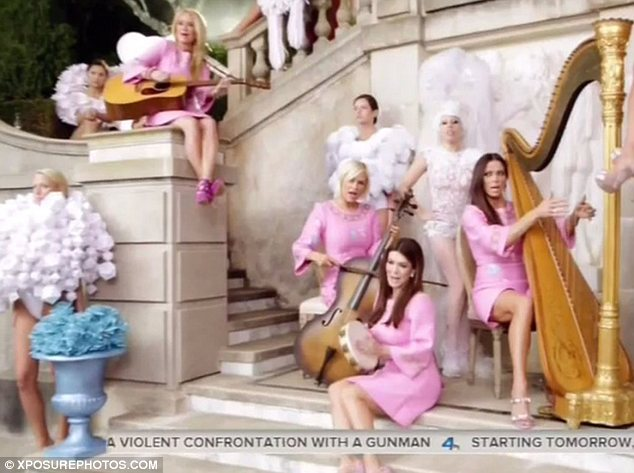 Unusual backing band: Lady Gaga recruited the Real Housewives Of Beverly Hills for her new music video G.U.Y.