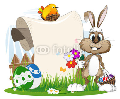 Bunny with flowers and Easter eggs