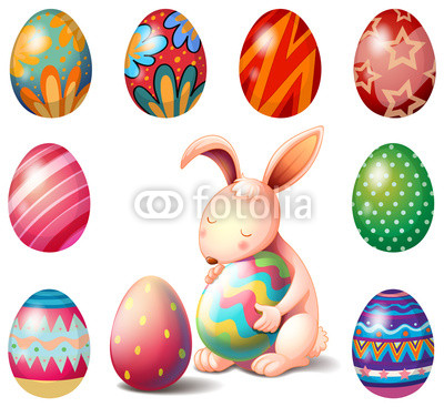 A bunny surrounded with Easter eggs