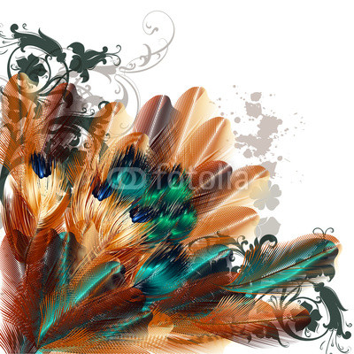 Beautiful vector background with colorful ferns