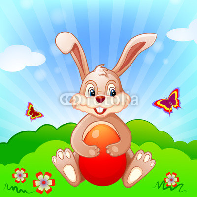 Easter background with butterflies, bunny and eggs