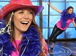 Kate Walsh shows off her stripper skills as she pole dances for Twitter followers on The Ellen DeGeneres Show