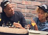 What a life! Beyonce and Jay Z tuck into mimosas and chocolate cake as they brunch at Gjelinas In Venice California on Sunday