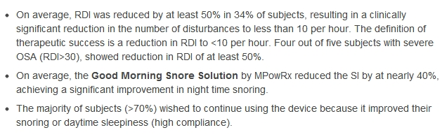 proven research on snoring mouthpiece