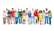 Multi ethnic group of happy people standing together