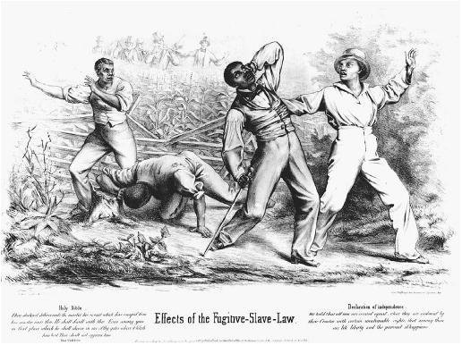 A skillfully drawn dramatic condemnation of the Fugitive Slave Act of 1850. Four black men are ambushed by a posse of six white men. Below the drawing are quotations from the Bible (Deuteronomy; on the left) and the Declaration of Independence (right). (LIBRARY OF CONGRESS, PRINTS AND PHOTOGRAPHS DIVISION)