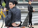 That's a big one!: Kym Marsh shows off 'tramp stamp' while filming an upcoming episode of Coronation Street