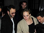 Out with the boys: Jennifer was joined by Tom Ford and her beau Nicholas Hoult