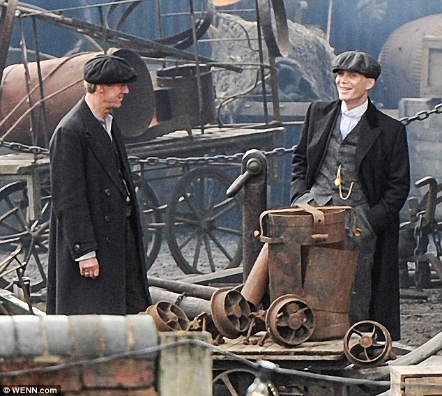 High spirits: Cillian was in cheerful mood between takes on set of peaky Blinders, which returns with a second series later this year