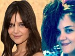 Suri's masterpiece: Actress Katie Holmes, 35, shares a pic on Twitter of her 80s-themed ponytail styled by her eight-year-old daughter Suri