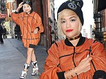 Playful: Rita Ora stepped out in New York on Friday in a basketball inspired outfit