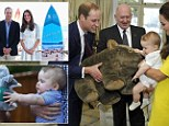 George's royal tour haul: Prince receives countless wombat toys, a bilby, a boat, a bike, a skateboard and even a customised £2,200 SURFBOARD (might have to wait a while to use that!)