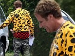 Careful you don't have to run: Will Ferrell shows off his underwear in very baggy pants on the set of Get Hard
