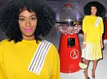 Not so mellow yellow! Solange Knowles shows off her legs in bright 80s style outfit in New York