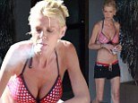PICTURE EXCLUSIVE: Tara Reid is scarily thin in bikini top and tiny shorts that barely cling to her slender frame at Hollywood hotel