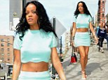A dream: Rihanna certainly turned heads as she stepped out in an aquamarine miniskirt and crop top in New York