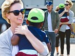 The Brunch bunch: Sean Penn and Charlize Theron bring their mothers and little Jackson to Malibu for a family meal