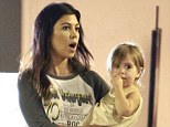 April 28, 2014    Reality star Kourtney Kardashian takes her children Peneope and Mason to see their doctor at a clinic in West Hollywood, California. Kourtney carried little Penelope, and wore an Velvet Underground T-shirt and white jeans.    Exclusive All Rounder  UK RIGHTS ONLY  Pictures by : FameFlynet UK © 2014  Tel : +44 (0)20 3551 5049  Email : info@fameflynet.uk.com  Picture Shows: Kourtney Kardashian, Penelope Disick