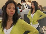 Zoe Saldana looks disgruntled as she clears security at LAX airport