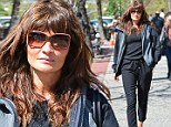 Helena Christensen seen on the streets of new york in all black