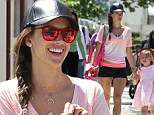 Alessandra Ambrosio takes a steep stair climb before picking up her daughter from school