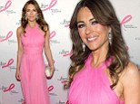 Elizabeth Hurley shows off her very svelte figure in floaty halter-neck gown at breast cancer charity event