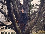 That's being literal! Hilaria Baldwin goes out on a limb to strike a tree pose for her latest yoga posture of the day