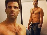Hot Spock! Zachary Quinto shows off impressive abs as he post shirtless selfie while announcing he's 'back to working out'