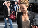 She's home (and) free! Vanessa Paradis goes braless in low-cut metallic knit and skinnies at French film screening