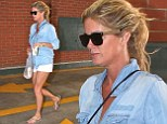 Legging it: Rachel Hunter showed off her enviable pins in white shorts in LA