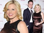 Baby on board: Megan Hilty showed signs of her growing belly as she with and her husband Brian Gallagher attended The New York Pops 31st Birthday Gala Dinner held at the Mandarin Oriental Hotel in New York on Monday