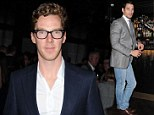 Gentlemen's club: Benedict Cumberbatch  looked dapper in blue suit as he joins David Gandy at launch of City Social