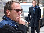 Lifelong smoker Kiefer Sutherland puffs away in New York after shooting 24 in London