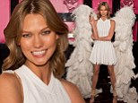 Karlie Kloss shows off her angelic figure in pleated mini dress and giant wings at launch of Victoria's Secret perfume