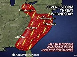 Severe: more thunderstorms are expected on Wednesday, sweeping across both the Southeast and parts of the Northeast