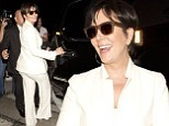 Kim's got some competition: Kris Jenner shows off her pert bottom in a tight cream trouser-suit after dinner date