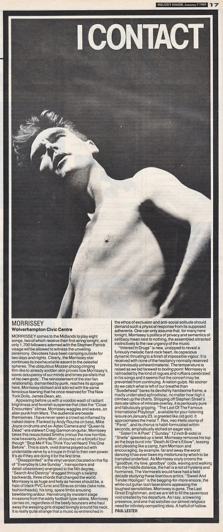 One of several reviews of Morrissey's debut solo gig at the Wolverhampton Civic Hall in 1988, in honour of the gig's recent video leak.