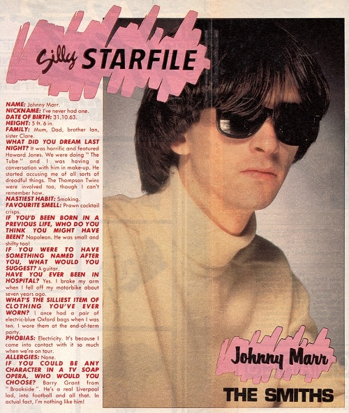 """Johnny Marr's """"Silly Star File"""" from Jackie magazine, 6th October, 1984."""