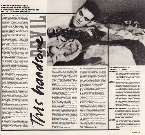 """Morrissey interview from NME's one-off """"Undress"""" fashion supplement, 1984."""