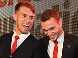 Having a laugh: Aaron Ramsey and Thomas Vermaelen test out the decks with Rudimental at the event