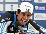 Can't keep it together: Cook loses his cool as he sees one of the journalists gathered for his press conference ahead of the England v Scotland ODI fall off his chair and to the ground