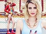 Swimsuit clad Emma Roberts shows off her slender figure while basking in a rainbow of colours for Elle Canada