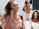Better as a blonde! Mel B shows her lighter side with golden-tipped locks and pastel outfit on the way to recording studio