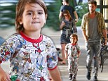 My little super hero! Scott Disick lets son Mason wear his treasured Spider-Man pajamas to dinner on boys' night out