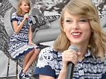 Taylor Swift perfectly matches her pretty frock to her Keds shoes as she debuts her latest footwear collection during the brand's Style Icons event in LA